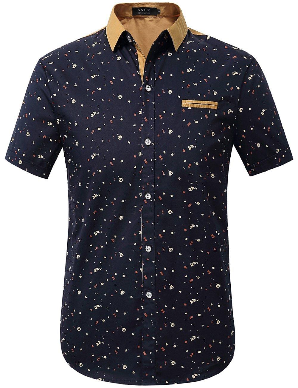 SSLR Men's Printing Pattern Button Down Casual Short Sleeve Shirts (X-Large, Blue)