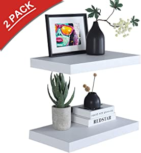 "WELLAND 12"" Deep White Floating Shelves 2 Pack, Wall Shelf Display Floating Shelf, 23.62"" L x 11.81"" D x 2"" T, Deeper Than Others, White"