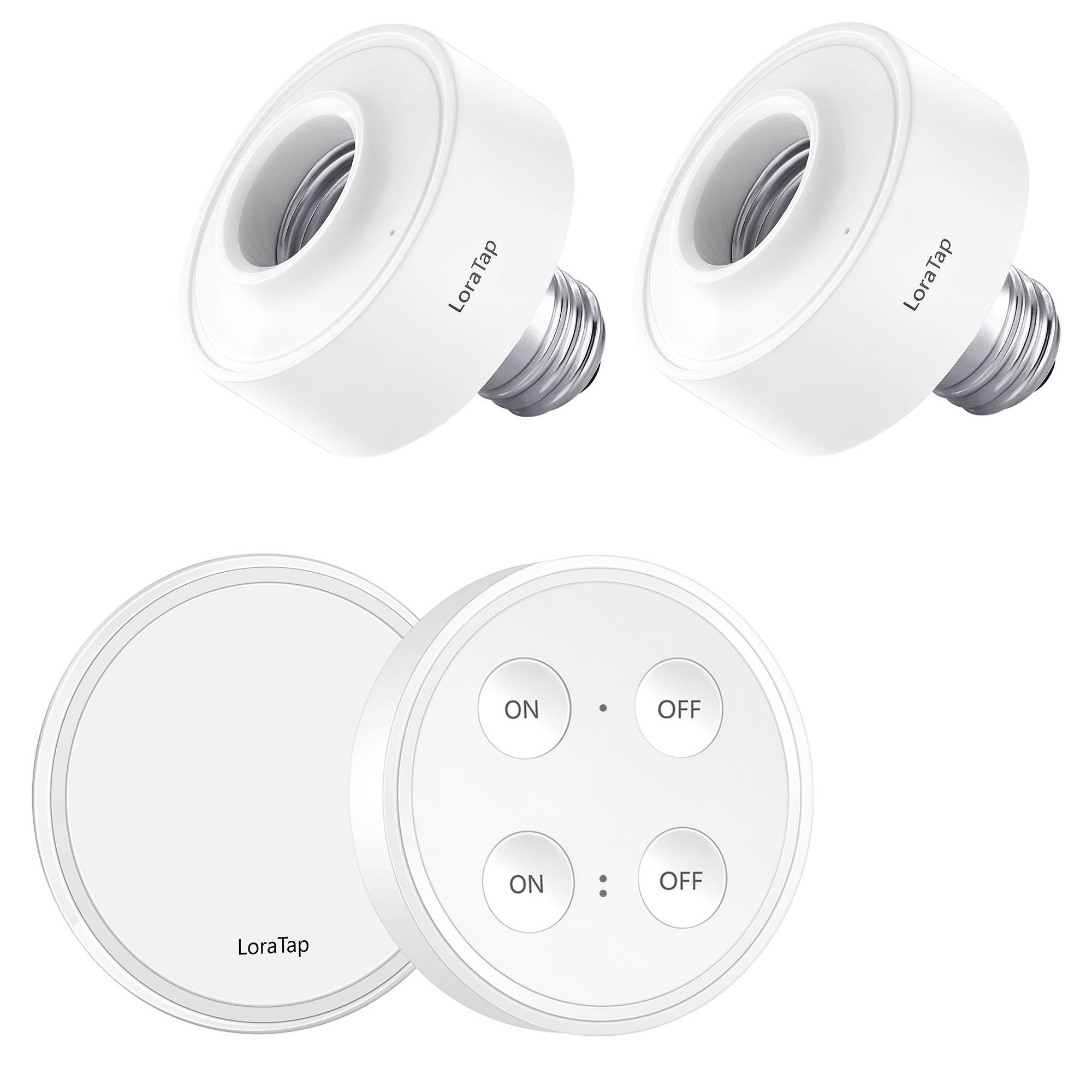 LoraTap Wireless Remote Control E26 E27 Light Socket Kit 656ft 915MHz Range On Off Switch for LED Bulbs and Fixtures, 5 Years Warranty (1pc Light Switch + 2pcs LED Lamp Holders)