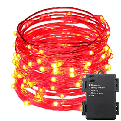 ER CHEN Indoor and Outdoor Waterproof Battery Operated 100 LED String Lights on 33 Ft Long Ultra Thin Copper String Wire with Timer (Red)