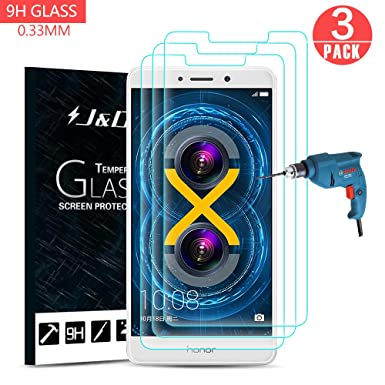 super popular 45405 0d289 J&D Compatible for 3-Pack Huawei Honor 6X Glass Screen Protector, [Tempered  Glass] [Not Full Coverage] HD Clear Ballistic Glass Screen Protector for ...