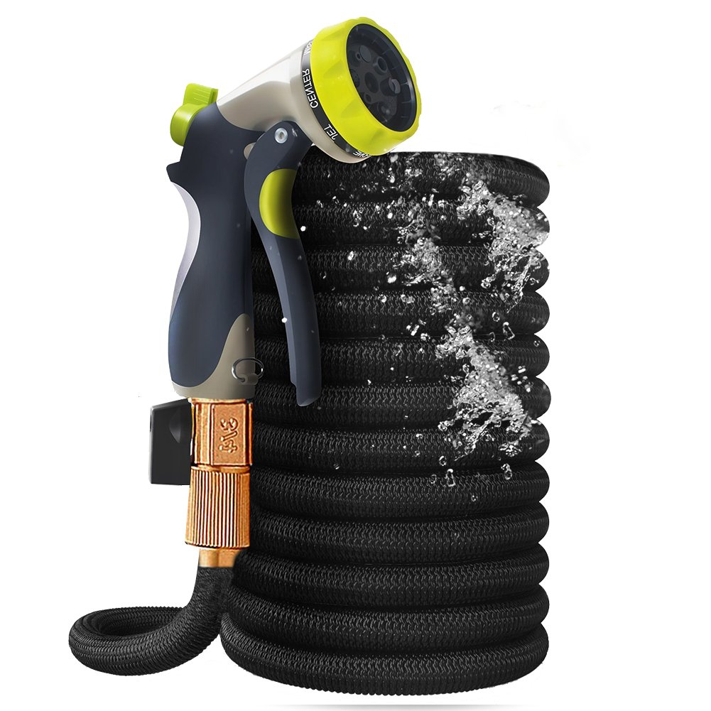 Expandable Garden Hose,50ft Flexible Water Hose Pipe Double Latex Core with 8 Function Spray Nozzle, Durable and Lightweight Water Hose For Home and Yard