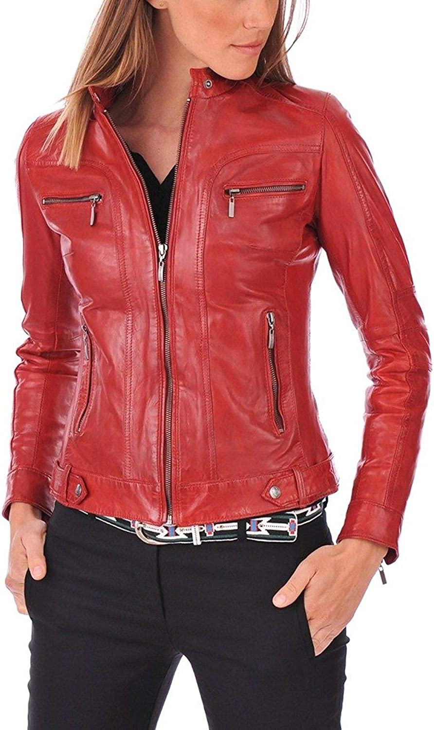 New Fashion Style Womens Leather Jackets Motorcycle Bomber Biker Red Real Leather Jacket Women