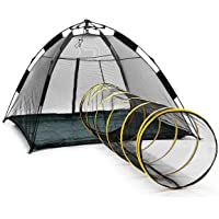 Portable Pop-up Pup Pet Tent Automatic Cat Dog Camping Fence Enclosures Playpen with Tunnel Outdoor