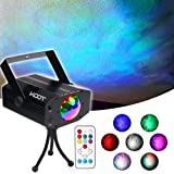 KOOT Water Wave Christmas Lights Projector, RGBW 7 Color Stage Party Lights, Water Effect Strobe Ripples Lighting with Remote