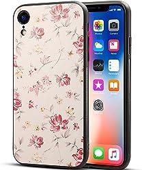 Girlscases® | iPhone XR Hülle in Schwarz mit Blumen/Flowers Schutzhülle aus Silikon mit Blumen/Flowers Aufdruck/Motiv Glänzend | Farbe: Rosa/Gelb / Creme
