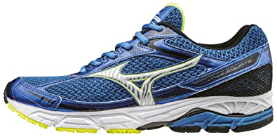 0f2a90ae3c697 Mizuno Men s Wave Equate Running Shoes Strong Blue Silver Safety Yellow