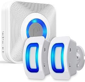 Fosmon WaveLink 51076HOMUS Wireless Home Security Driveway Alarm, Motion Sensor Detect Alert, Store Door Entry Chime Doorbell (150M/500FT, 58 Tunes, 5 Volume Levels, LED Indicators), 2 Motion Detector