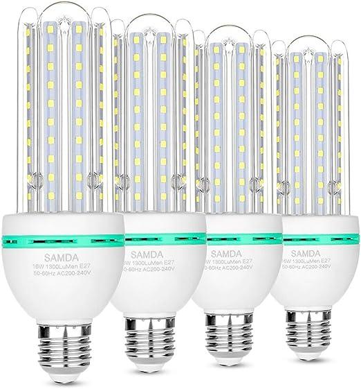 Bombillas LED E27, 16W equivalente de 120 vatios,luz blanca fría 6000K, 360 ° ángulo de luz,no regulable,1300 lúmenes LED maíz luz bombilla,ahorro de energía bombillas de luz - 4 Pack: Amazon.es: Iluminación
