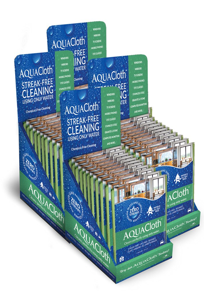 AquaCloth AQ500-96 AquaCloth AQ500 Nano-fiber 18'' x 15'' Cleaning Towel Master Carton (4 - 24 Packs of 2 Cloths - 96 Packs), Thickness (Pack of 96) by AquaCloth