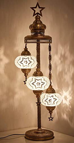 Demmex 2019 Customizable Turkish Moroccan Mosaic Tiffany Floor Table Lamp 3 Big Globes