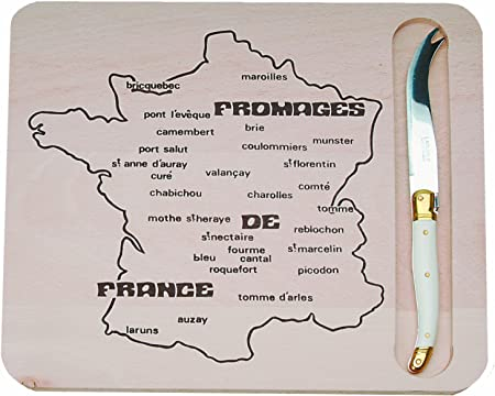 Lovely French serving plate Amber color Majolica knife French pottery Bistrot with Map of French Cheese Locations Vintage Cheese plate