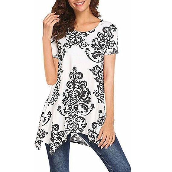 Camisetas Estampadas Mujer Camisetas Mujer Tallas Grandes AIMEE7 Blusas Asimetrica para Mujer (S, Blanco