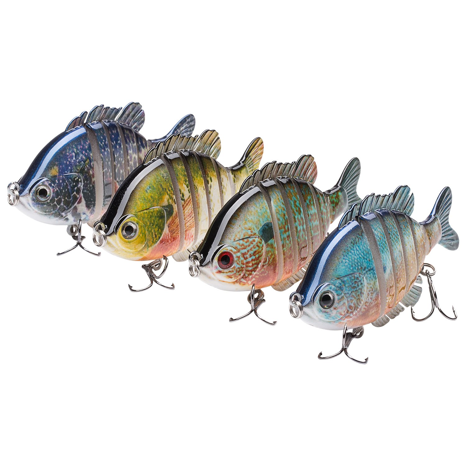 Bassdash SwimPanfish Multi Jointed Panfish Bluegill Swimbaits Topwater Hard Bass Fishing Crank Lure 3.5in/0.85oz (Pack of 4 Colors (BPRL)) by Bassdash