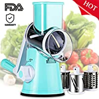 Vegetable Mandoline Chopper, SLC Manual Swift Vegetable Fruit Cutter Cheese Shredder Grinder Rotary Drum Grater Slicer with 3 Stainless Steel Blades and Strong Hold Suction Cup
