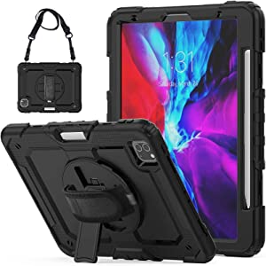 iPad Pro 12.9 Case 2020 with Screen Protector Pencil Holder | Herize Full Body Shockproof Rugged Protective Durable Rubber Case w/360 Rotating Stand & Strap for iPad Pro 12.9 inch 4th Generation