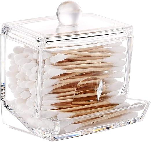 Drawihi Caja de Algodón Bastoncillos de algodón Organizador Hotel ofrece Cristal dispensador bastoncillos Box, caja,cosmética Contenedor: Amazon.es: Jardín