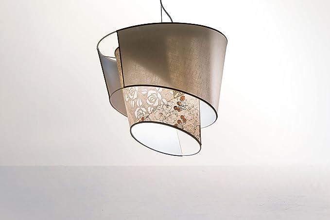 Iluminación de techo y ropa de color marrón flores de papel ...