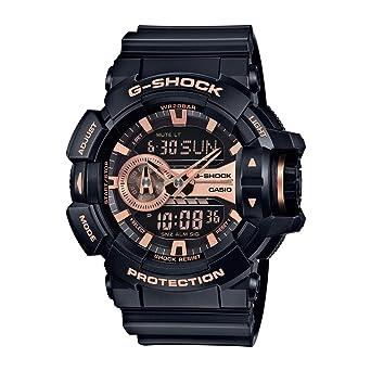 4388bd933f127 Casio G-Shock Black and Rose Gold-Tone Dial Resin Quartz Men s Watch GA400GB