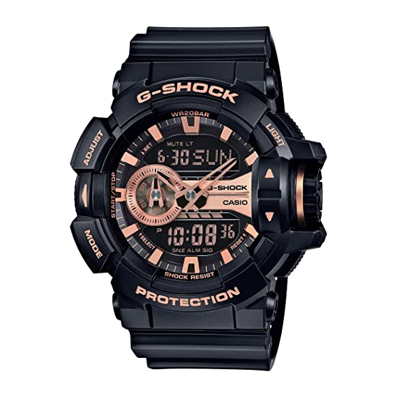 Casio G-Shock Black and Rose Gold-Tone Dial Resin Quartz Mens Watch GA400GB-1A4