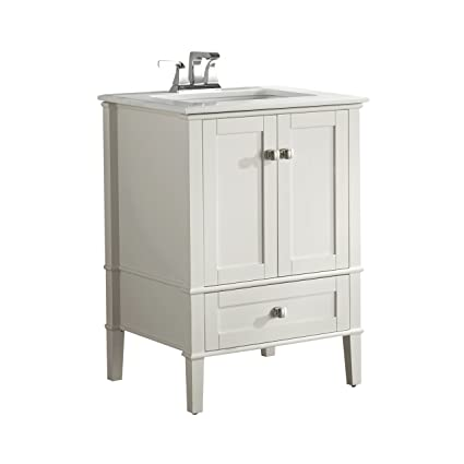 Simpli Home Nl Hhv029 24 2a Chelsea 24 Inch Contemporary Bath Vanity In Soft White With White Engineered Quartz Marble Top