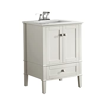 Simpli Home Chelsea 24u0026quot; Bath Vanity With White Quartz Marble Top, Soft  White