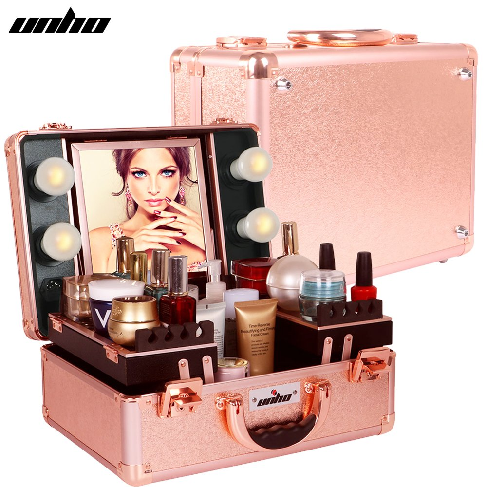 UNHO LED 4 Light Makeup Case with Lights and Tilt Mirror Makeup Case with 2 Trays Large Makeup Artist Organizer Kit Rose Gold