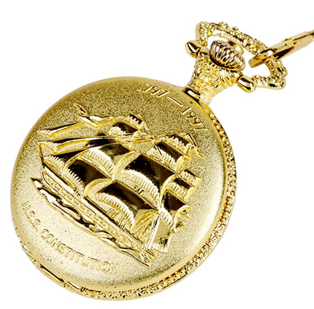 Vintage Golden Design Ship for Quartz Pocket Watch