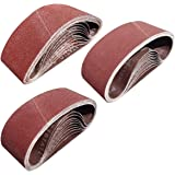 Tonmp 30 PCS 3 inch x 21 inch Sanding Belts - 10 Each of 40 80 120 Grit Aluminum Oxide Sanding Belts For Belt sander…