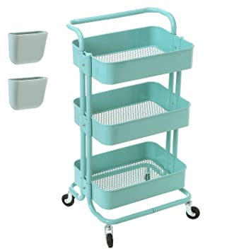 Amazon zytty 3 tier rolling cart metal utility cart with zytty 3 tier rolling cart metal utility cart with wheels rolling shelf storage cart art sciox Images