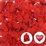 JUSLIN 2500 PCS Dark Red Silk Rose Petals Wedding Flower Decoration, with 10 Heart-shaped Balloons & 1 Drawstring Storage Pouch