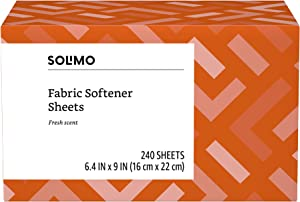 Amazon Brand - Solimo Amazon Brand Fabric Softener Sheets, Fresh Scent, 240 Count