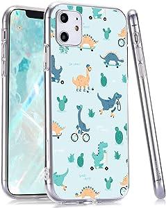 LuGeKe Dinosaur Print Phone Case for iPhone 7/iPhone 8, Slim Fit Dinosaur Cactus Pattern Soft TPU Cases Cover Scratch Resistant Flexible Transparent Skin Frame (Skating Dinosaur)