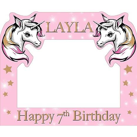Color rosa unicornio feliz cumpleaños personalizable nombre ...