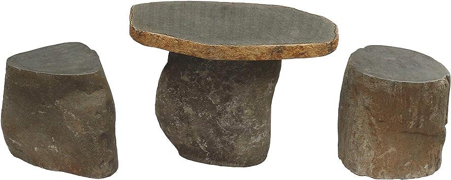 STONE art & more - Juego de Mesa y 2 taburetes para jardín (3 Piezas, Macizo, Piedra de río, Resistente a Las heladas): Amazon.es: Jardín