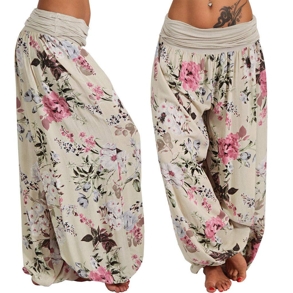 Womens Smocked Waist Floral Yoga Boho Harem Pants