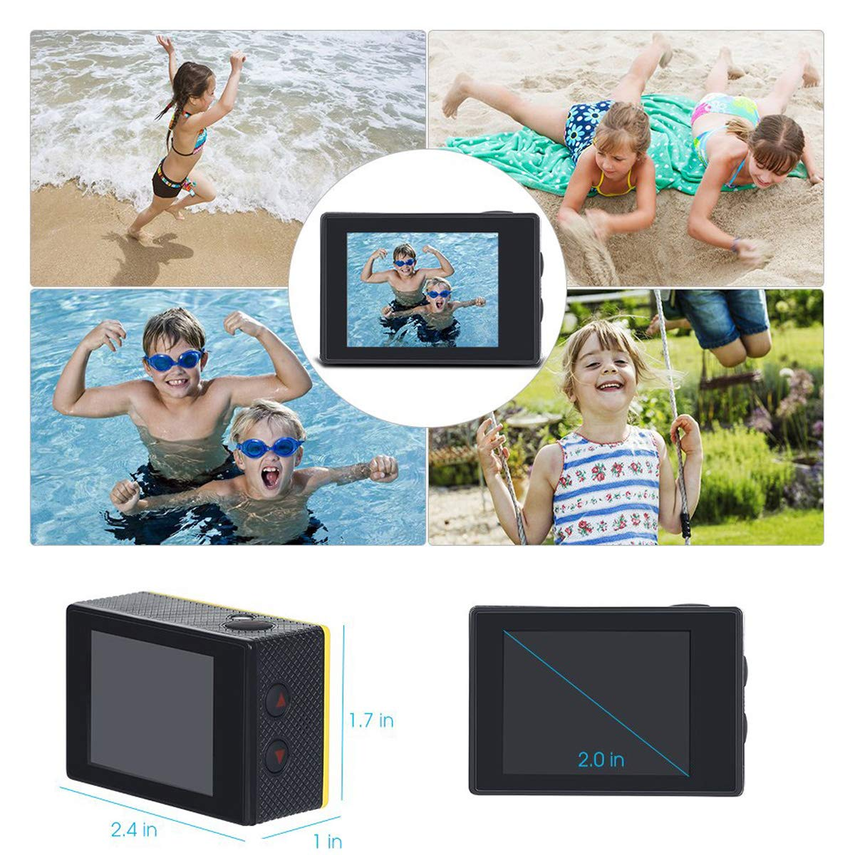 Nesolo Kids Digital Camera, Waterproof Camera for Kids Toy for Boy Girls Holiday Birthday Gift with 2.0 Inch LCD Display by Nesolo (Image #6)