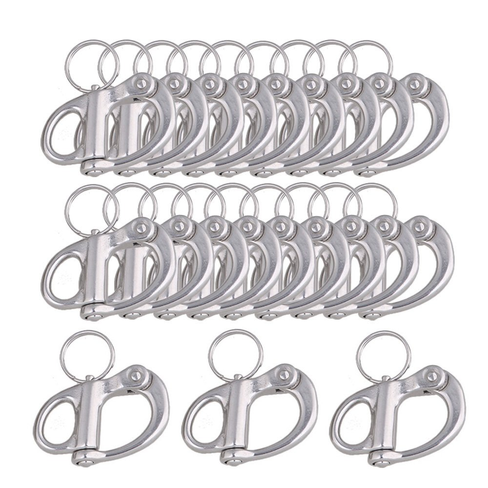 CNBTR 35mm 304 Stainless Steel Fixed Snap Anchor Shackle Rigging Silver Fixed Eye Bail with Eye Ring for Sailboat Set of 20