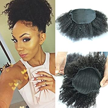 Amazon afro kinky curly human hair ponytail extensions kinky afro kinky curly human hair ponytail extensions kinky curly drawstring human hair ponytail hairpieces natural curly pmusecretfo Images