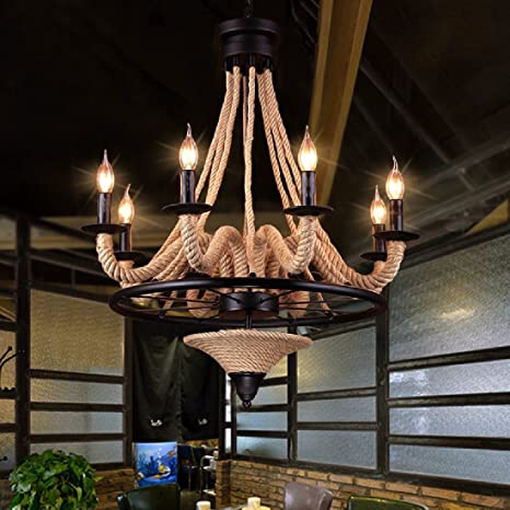 ZHGI Lampadario rustico americano semplice stile moderno salotto camera da letto ristorante retro illuminazione