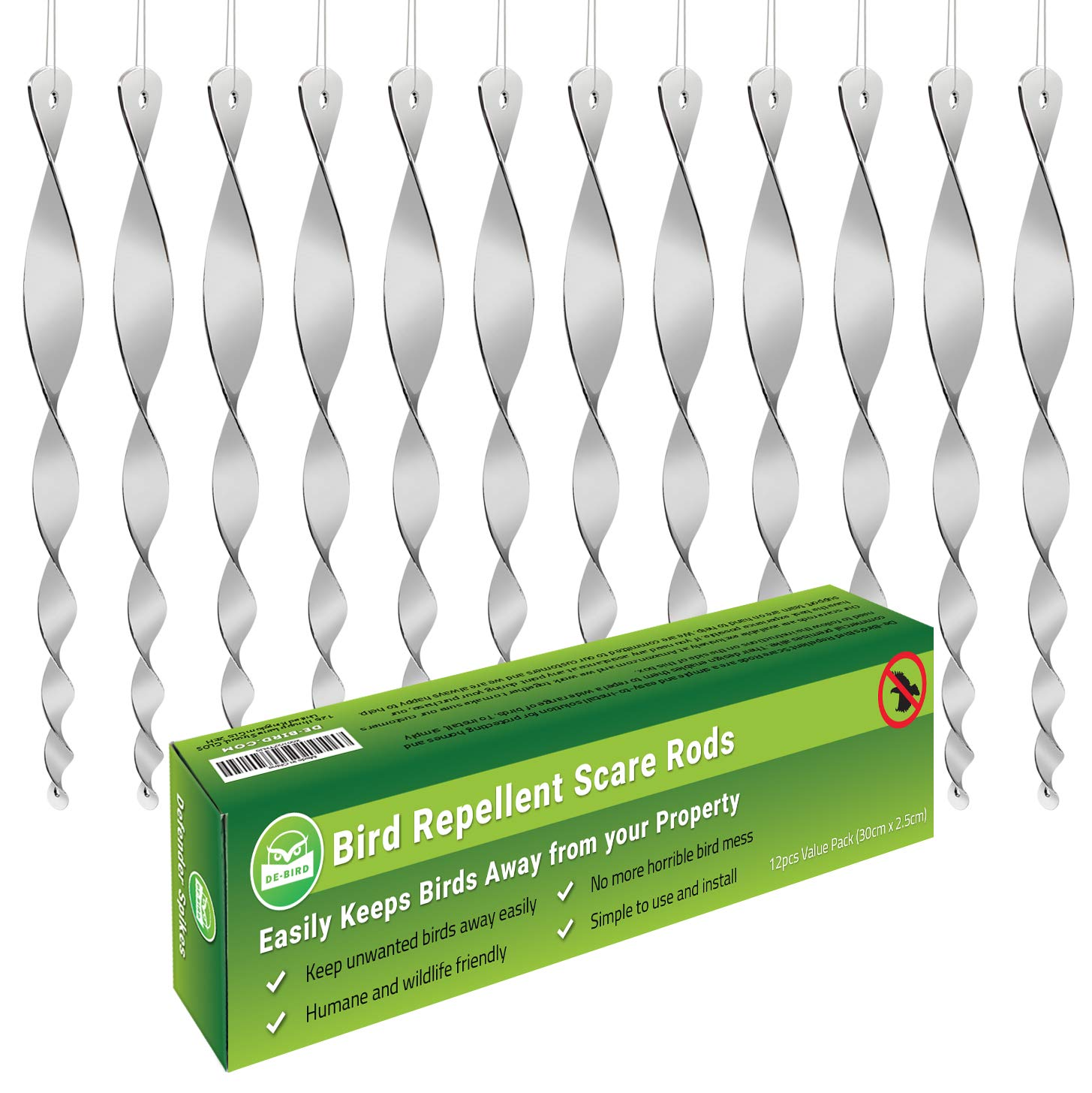 Bird Scare Rods Owl Decoy Bird Repellent [Stop Woodpeckers, Pigeons] Keep Away Pests with Outdoor Repeller Device in Garden or Yard [Scares Many Animals] Works with Tape, Spikes, Ultrasonic and Spray