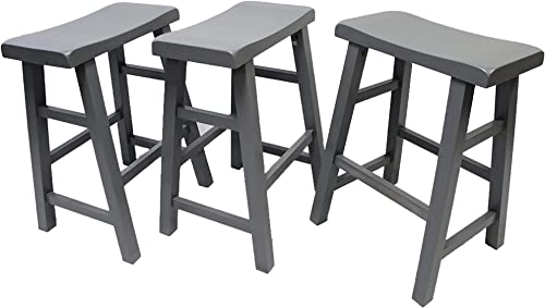 eHemco Heavy-Duty 24 Saddle Seat Barstools, Grey, Set of 3
