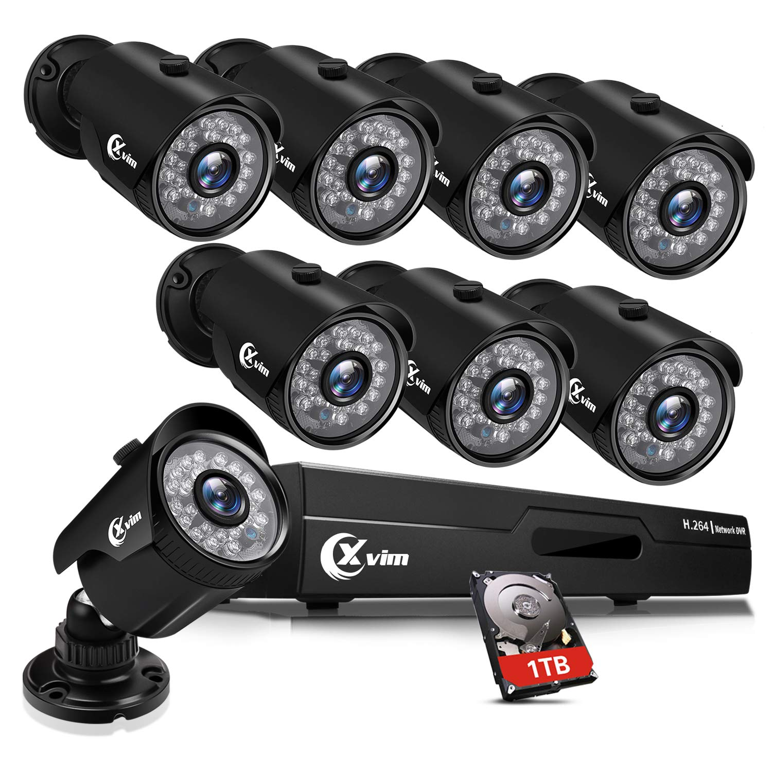 XVIM 8CH 1080P Security Camera System Outdoor with 1TB Hard Drive Pre-Install CCTV Recorder 8pcs HD 1920TVI Upgrade Outdoor Home Surveillance Cameras with Night Vision Easy Remote Access Motion Alert