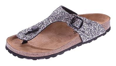 Gemini Damen Bio Pantoletten Zehentrenner Glitzer-Effekt Schwarz-Multi Sandalen Leder-Kork-Fußett Schuhe Latschen 42 tIPfu4