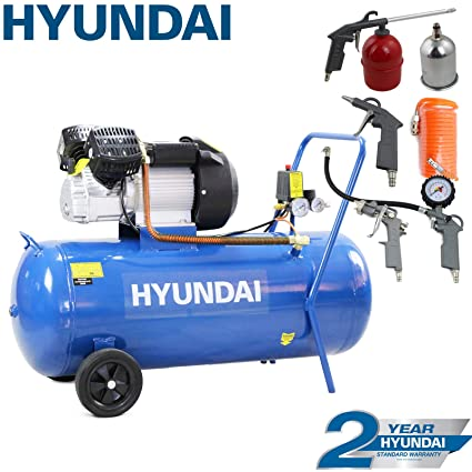Electric Air Compressor >> Hyundai Hy30100v 3hp V Twin Direct Drive Electric Air Compressor 14cfm 100 Litre Steel Tank Blue Includes 5 Piece Air Tool Kit
