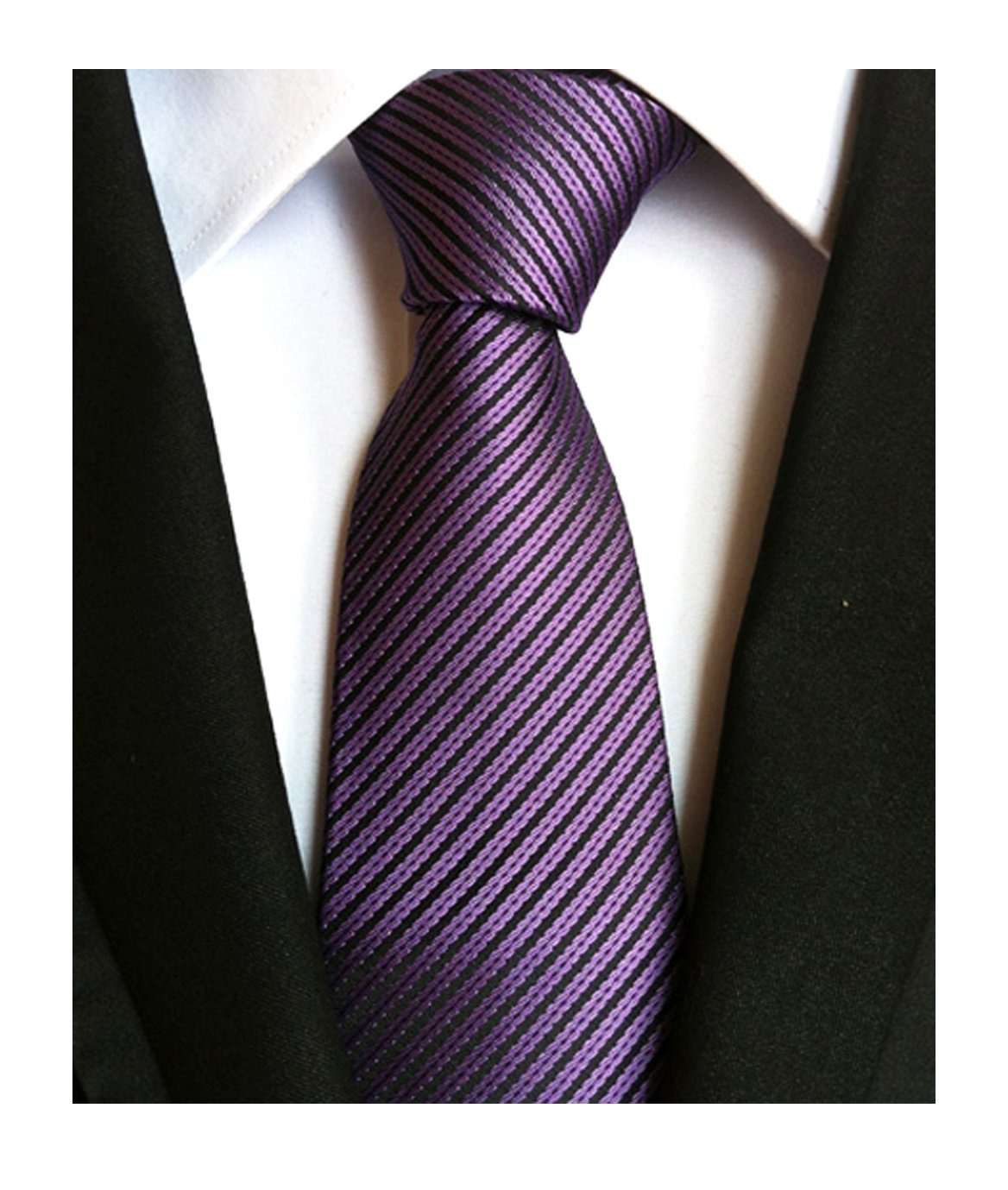 Men's Narrow Fine Stripe Pattern Ties Eggplant Purple Business Meetings Neckties