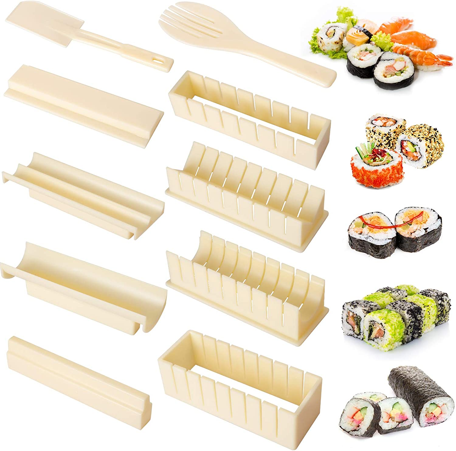 Inmorven Sushi Making Kit, Deluxe All In One Sushi Maker Set for Beginners, 10 Pieces Plastic Sushi Maker Tool, with 8 Sushi Rice Roll Mold Shapes, Fork, Spatula for Kitchen Home DIY Sushi(Off-white)