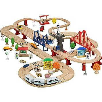 MEI Juguetes para niños Juguetes para la playa Carritos de madera para juguetes de madera Trenes