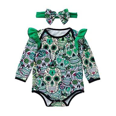 deeda501986 GoodLock Baby Girls Fashion Clothes Set Newborn Long Sleeve Halloween  Cartoon Skull Romper Jumpsuit Headbands Outfits