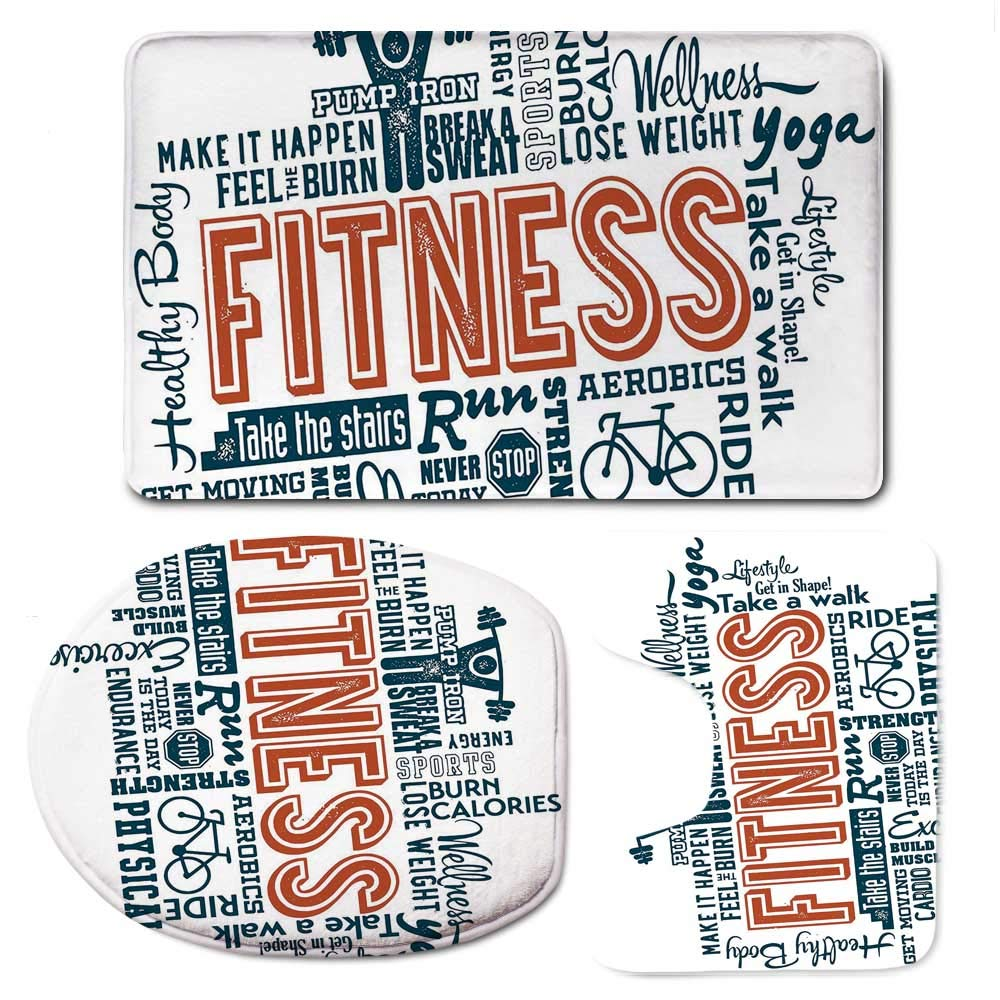 YOLIYANA Fitness Soft Bathroom 3 Piece Mat Set,Fitness Related Words with Retro Style Typography Active Lifestyle for Home,F:20'' W x31 H,O:14'' Wx18 H,U:20'' Wx16 H